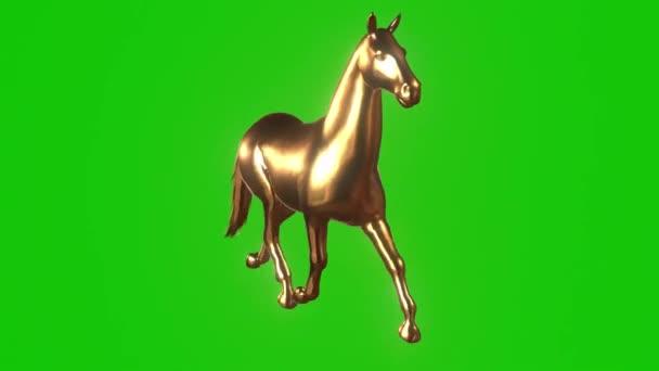 Golden Horse Running on Green Screen