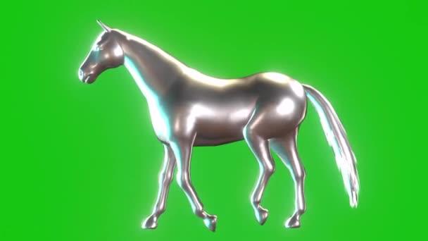 Silver Horse Walking on Green Screen
