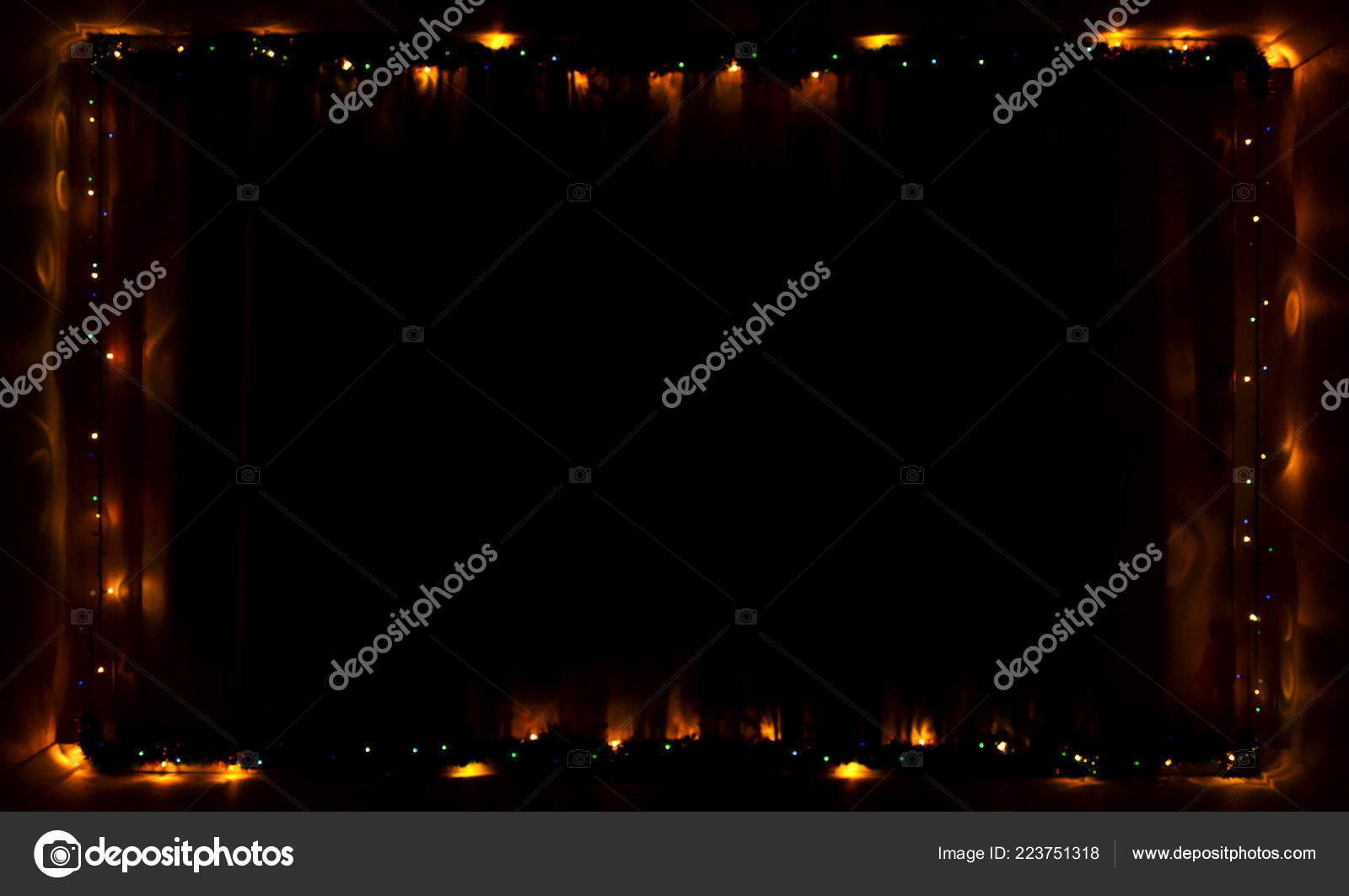 Frame Christmas Garland Glowing Dark Template Holidays Photo Stock