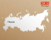 Fotografie Russia map on craft paper texture. Template for infographics. Cr
