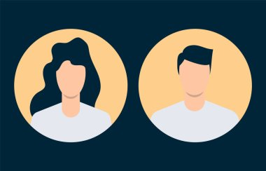 Simple avatars of man and woman. Flat design. Vector illustration icon