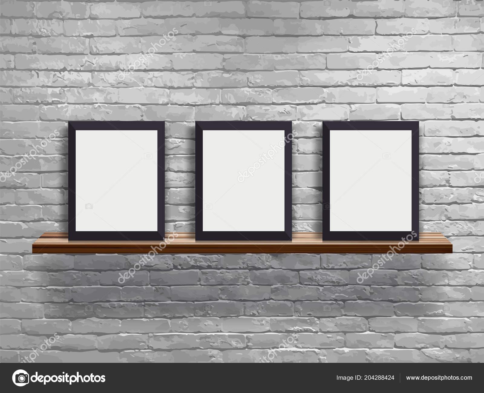 d6ddc043c42 Vector Mock Three Blank Frame Wood Shelf White Brick Wall — Stock Vector