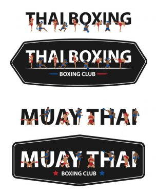 Vector Thai boxing with Muay Thai action on flat big letters