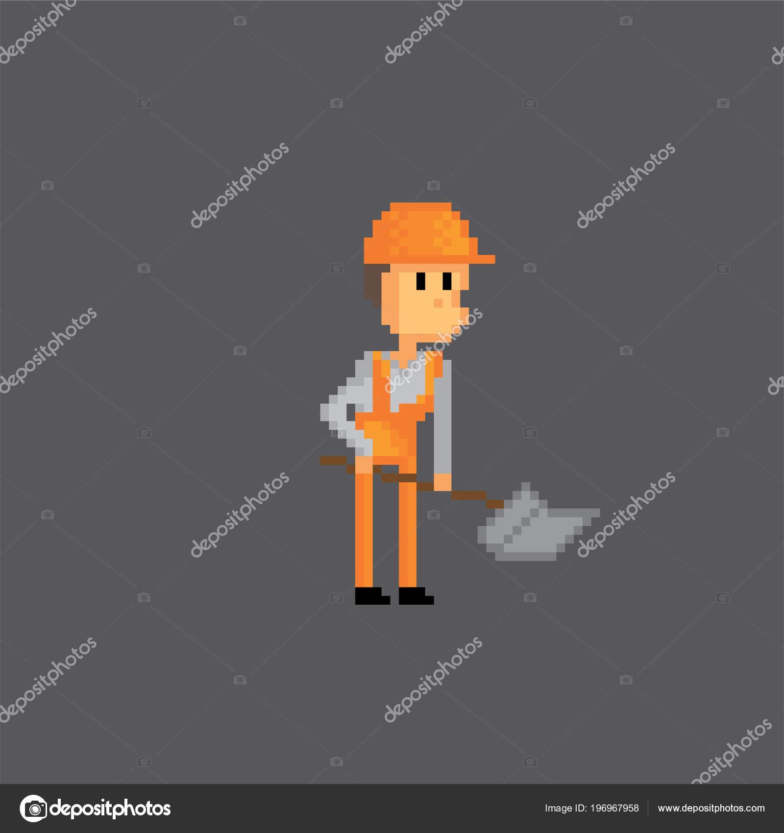 Road worker icon  Pixel art  Old school computer graphic  8 bit