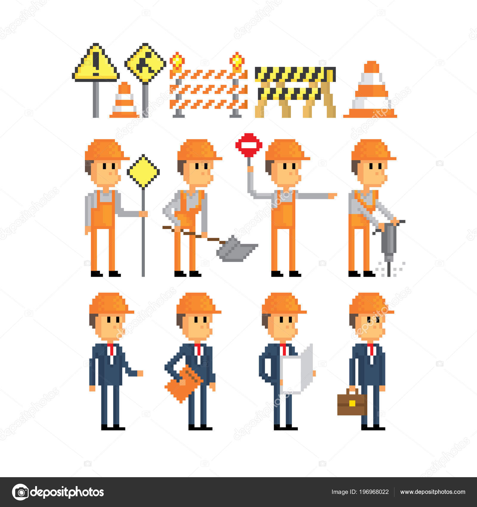 Road works icon set  Pixel art  Old school computer graphic