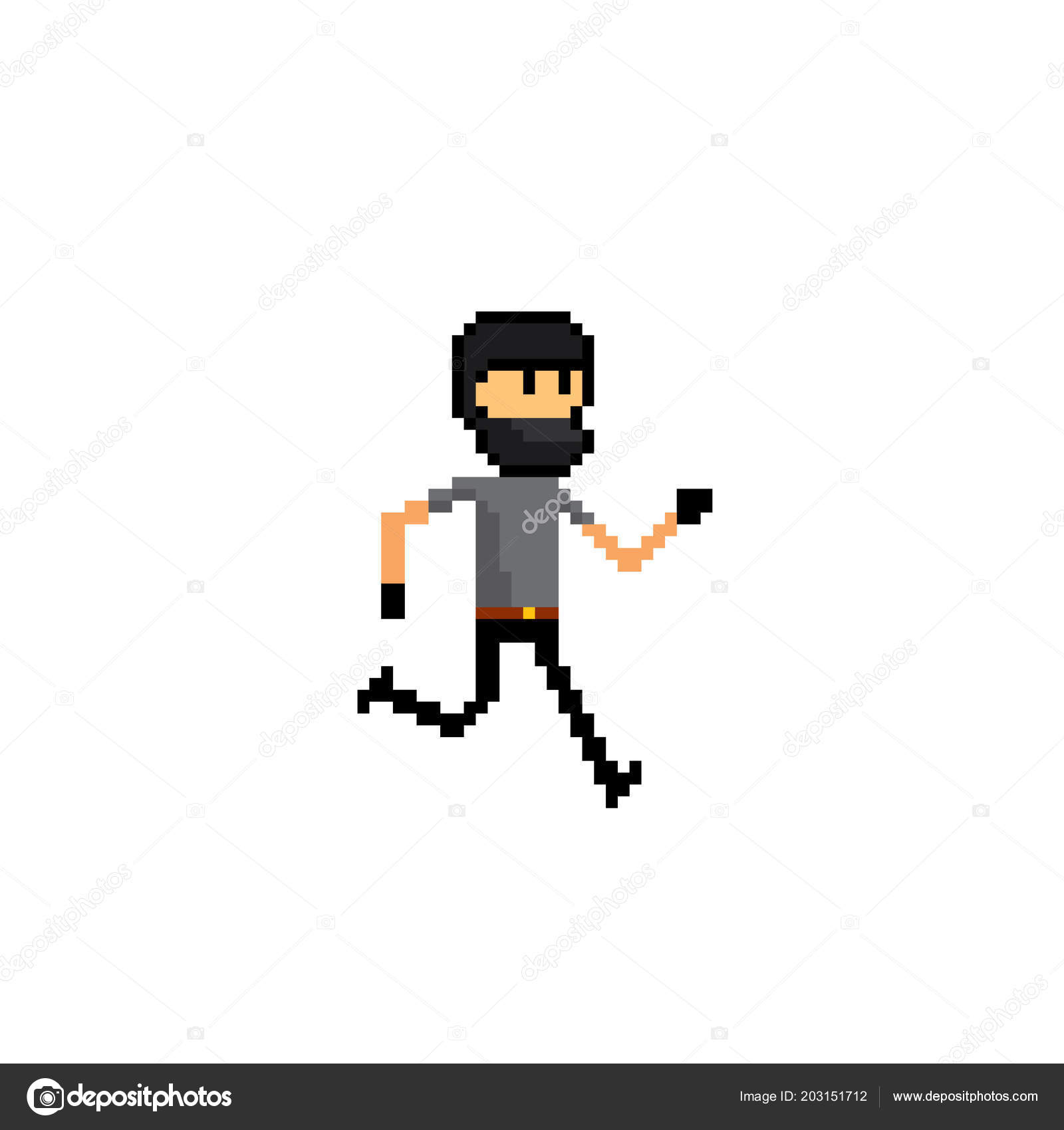 Thief Robber Pixel Art Old School Computer Graphic 8 Bit Video