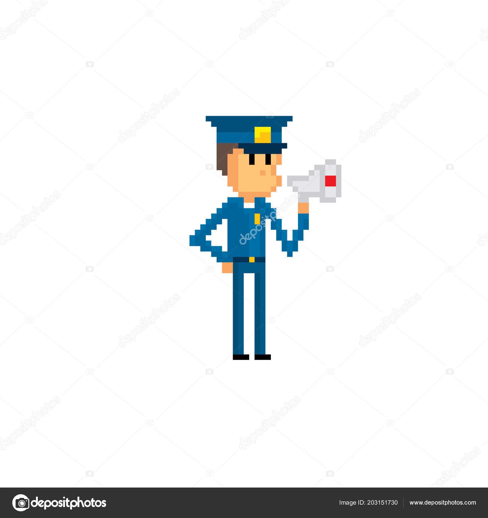 Police Character Pixel Art Old School Computer Graphic 8 Bit