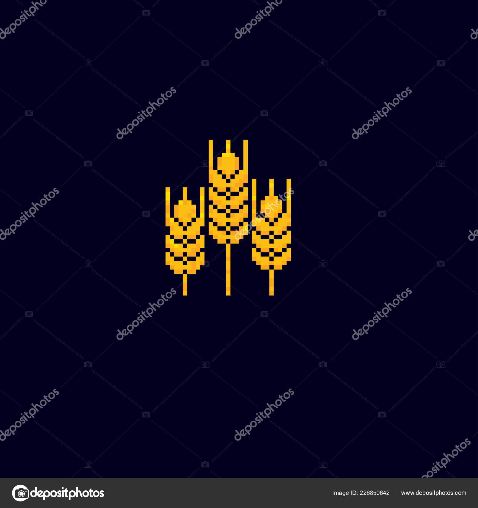 Spike of wheat  Pixel art  Old school computer graphic  Element