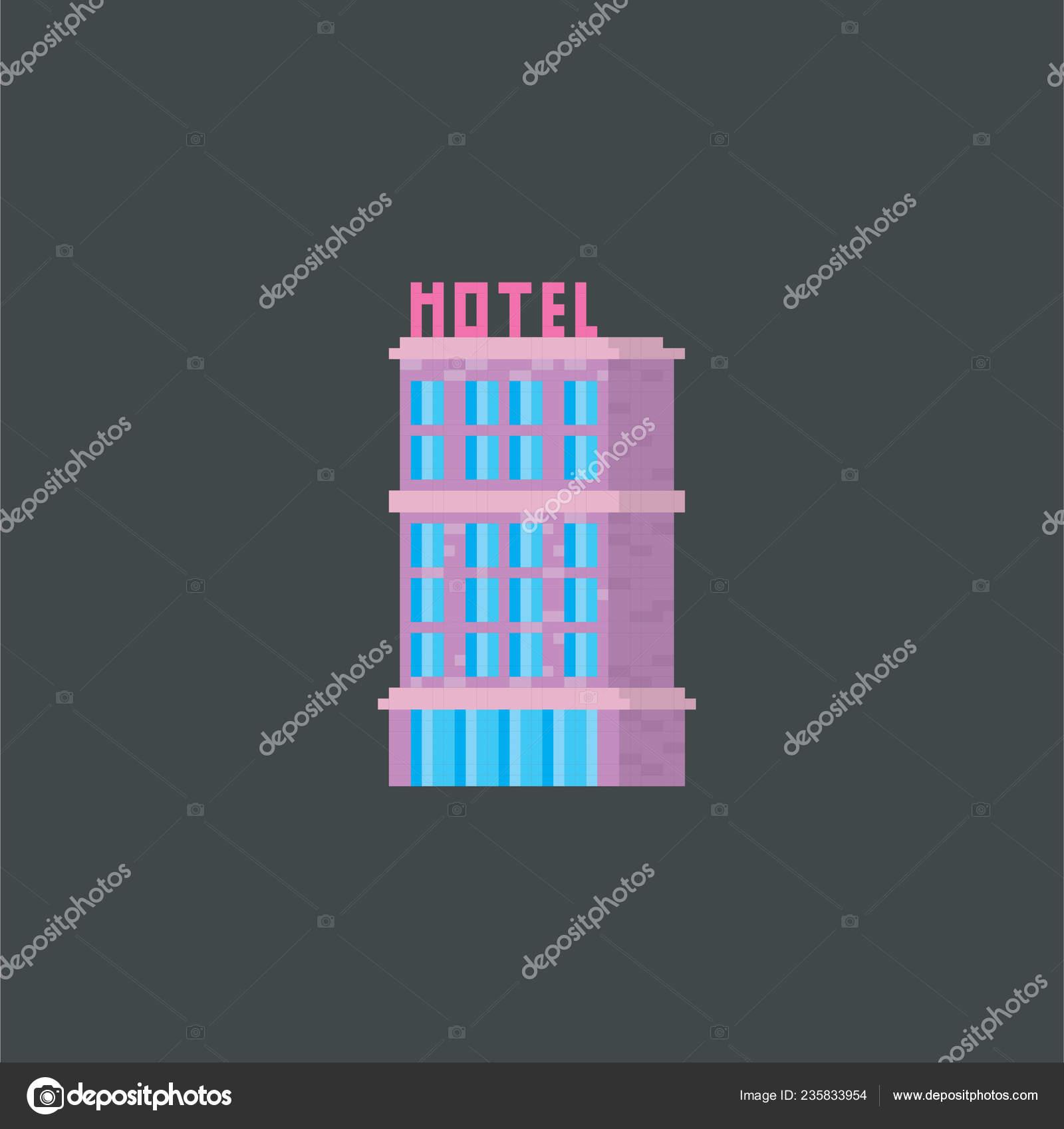 Hotel  Pixel art  Old school computer graphic  Element