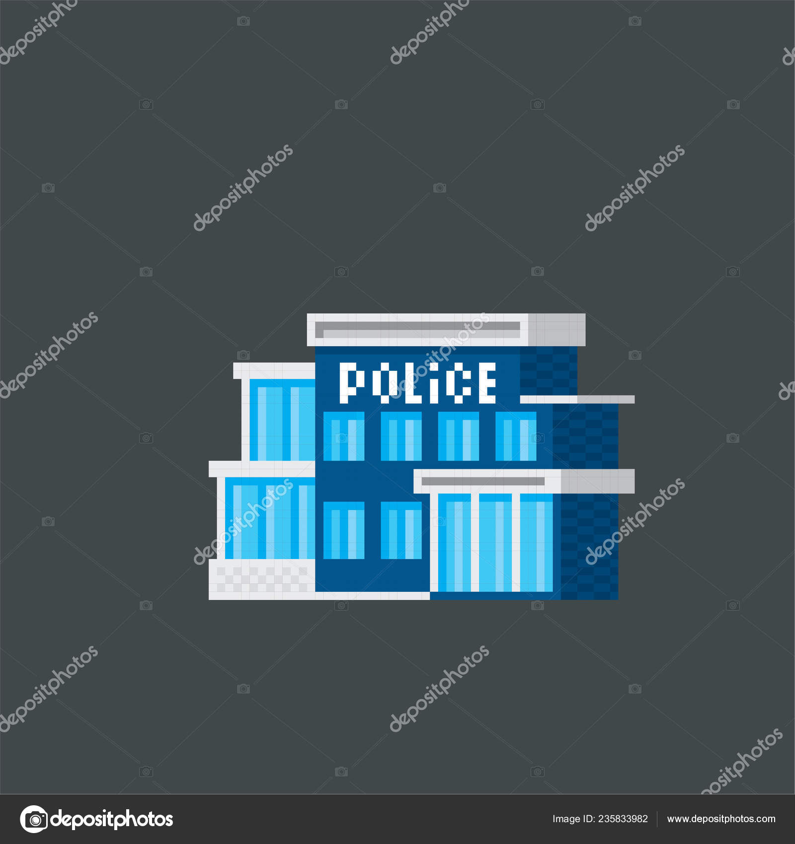 Police station  Pixel art  Old school computer graphic