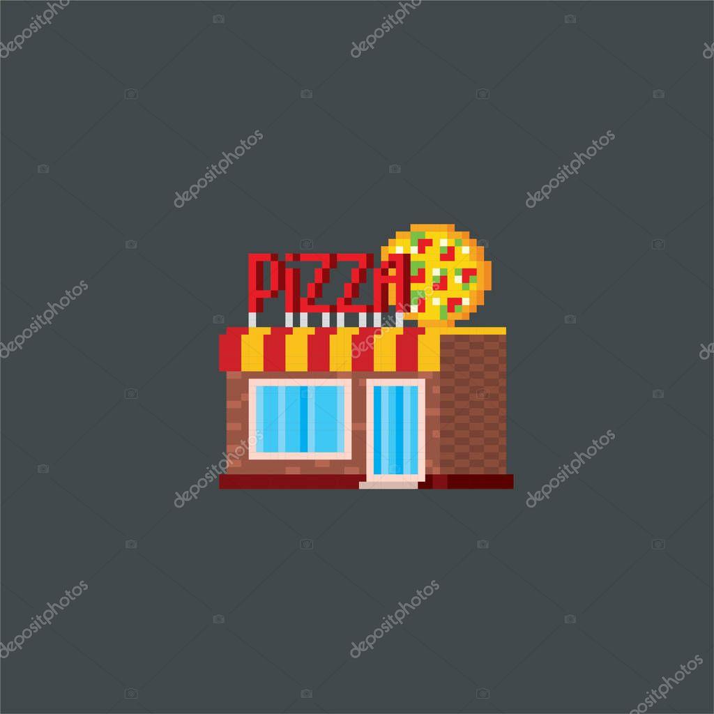 Pizzeria Arte Del Pixel Graficos De Computadora De Vieja Escuela Elemento Diseno Etiquetas Engomadas Logo Aplicaciones Moviles Menu Videojuego De 8 Bits Sprite De 8 Bits Del Juego Activo 16 Bit 2020