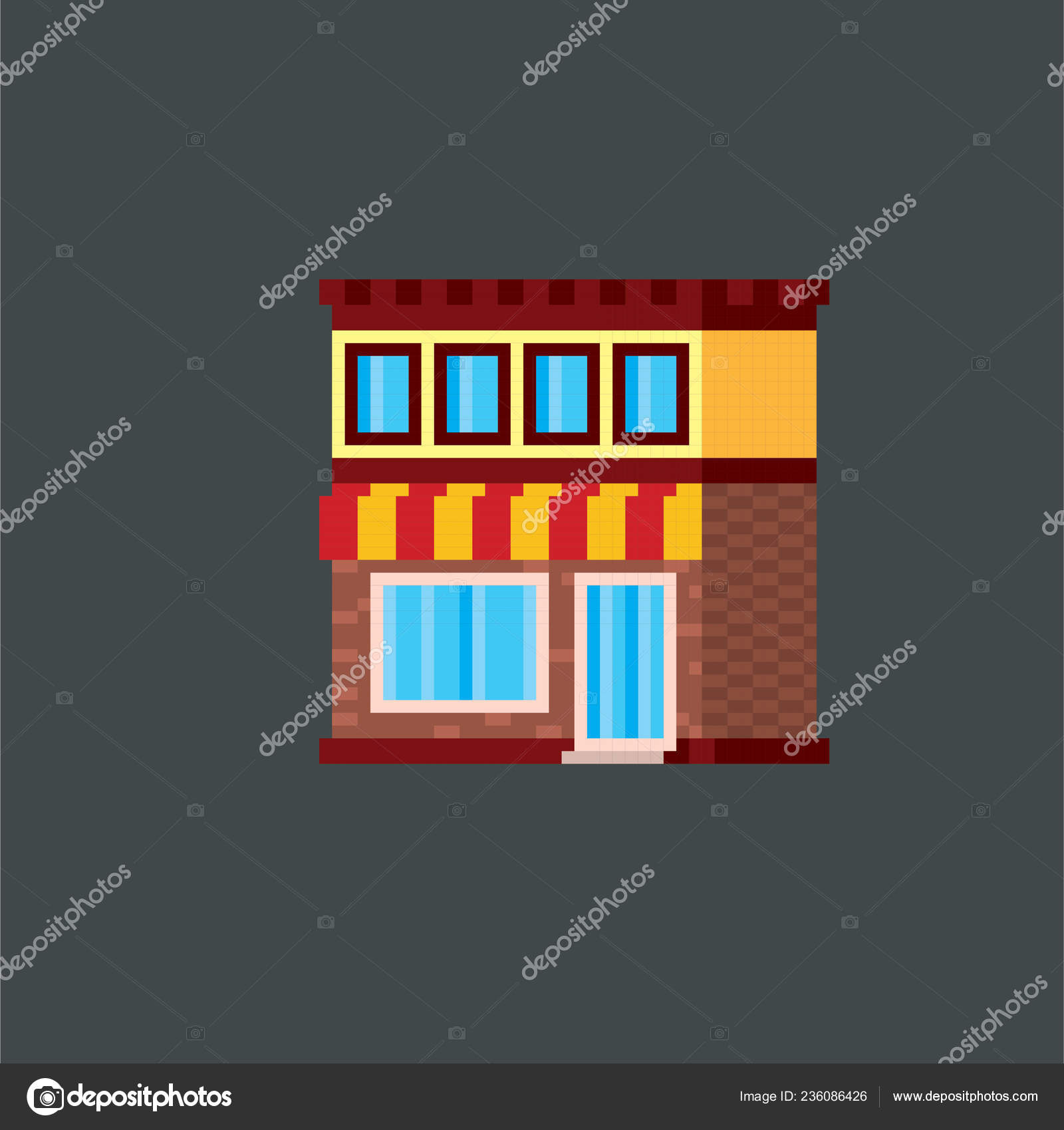 Shop, store, street city building  Pixel art  Old school