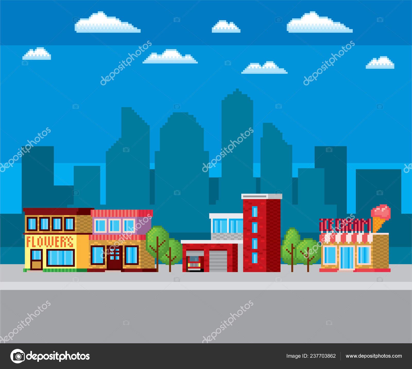 Caserne Des Pompiers Rue De La Ville Pixel Art Graphique