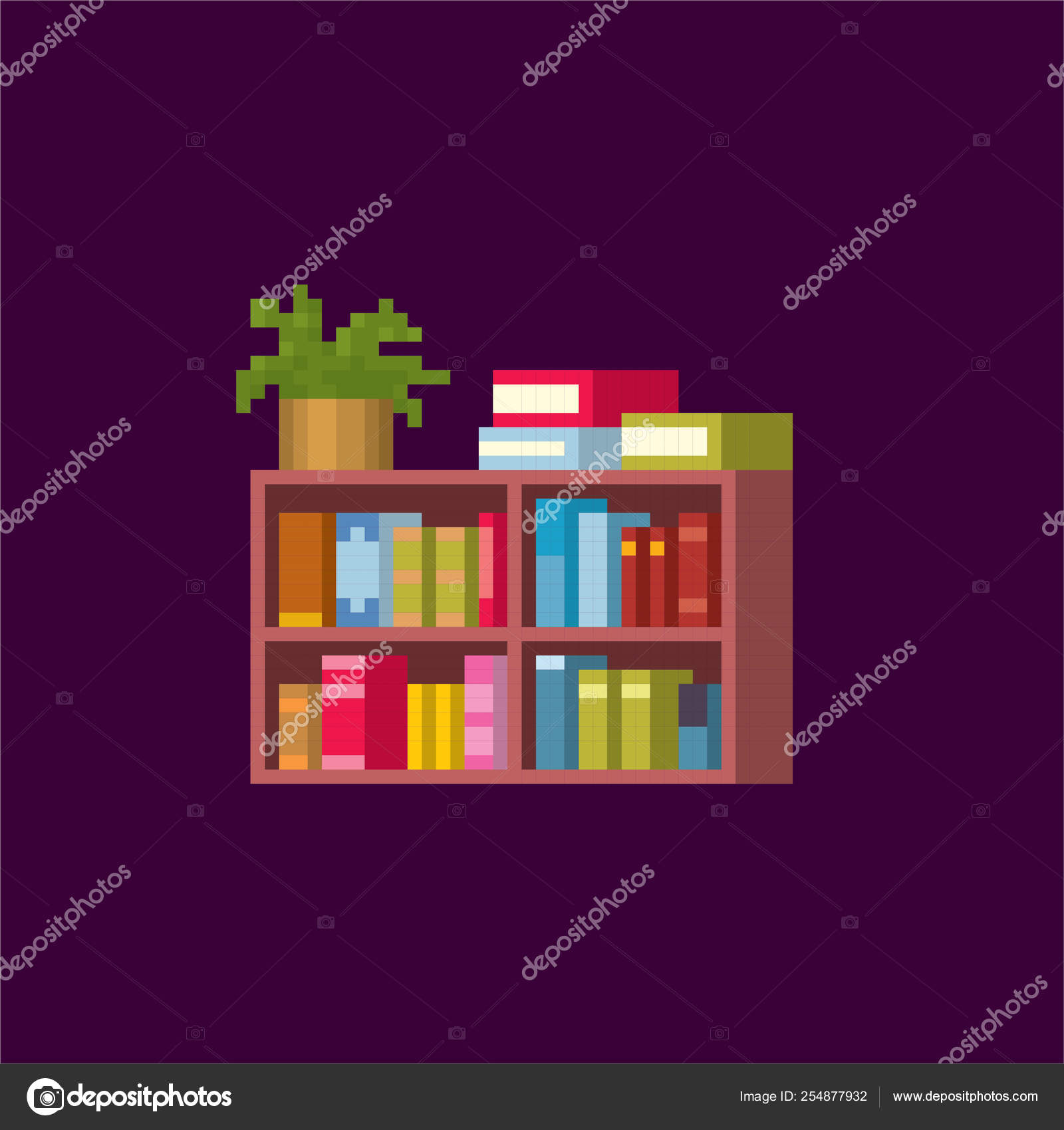 Bookcase  Pixel art  Old school computer graphic  Element