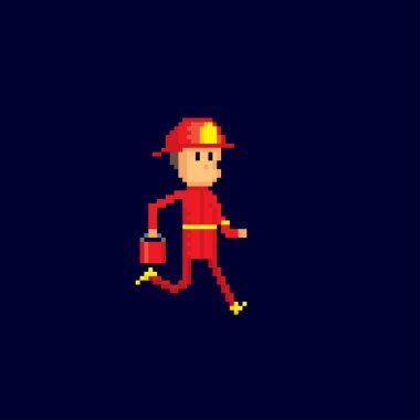 Firefighter with a bucket of water in his hands runs to the fire. Pixel art. Old school computer graphic. 8 bit video game. Game assets 8-bit sprite.