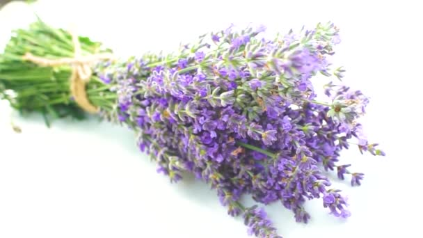 Beautiful lavender bouquet isolated on white background, top view