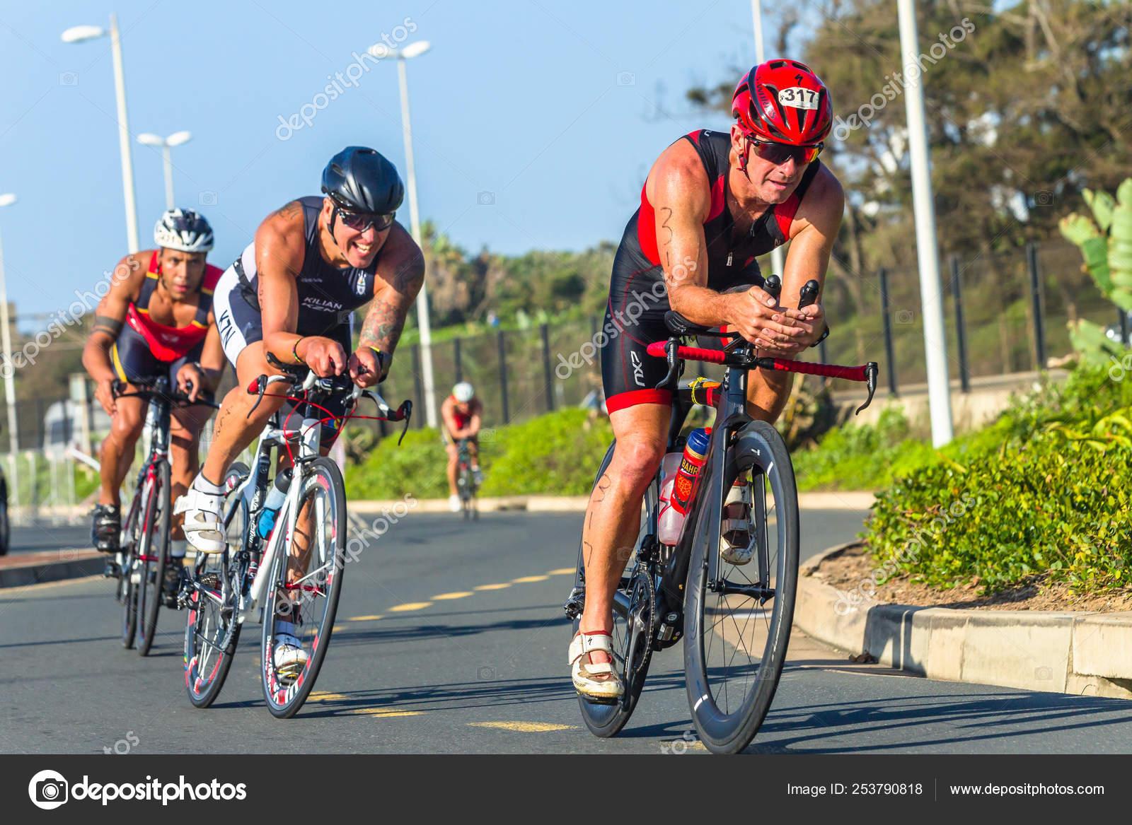 Triathlon Champs Athlete Men Cycling Road Course – Stock