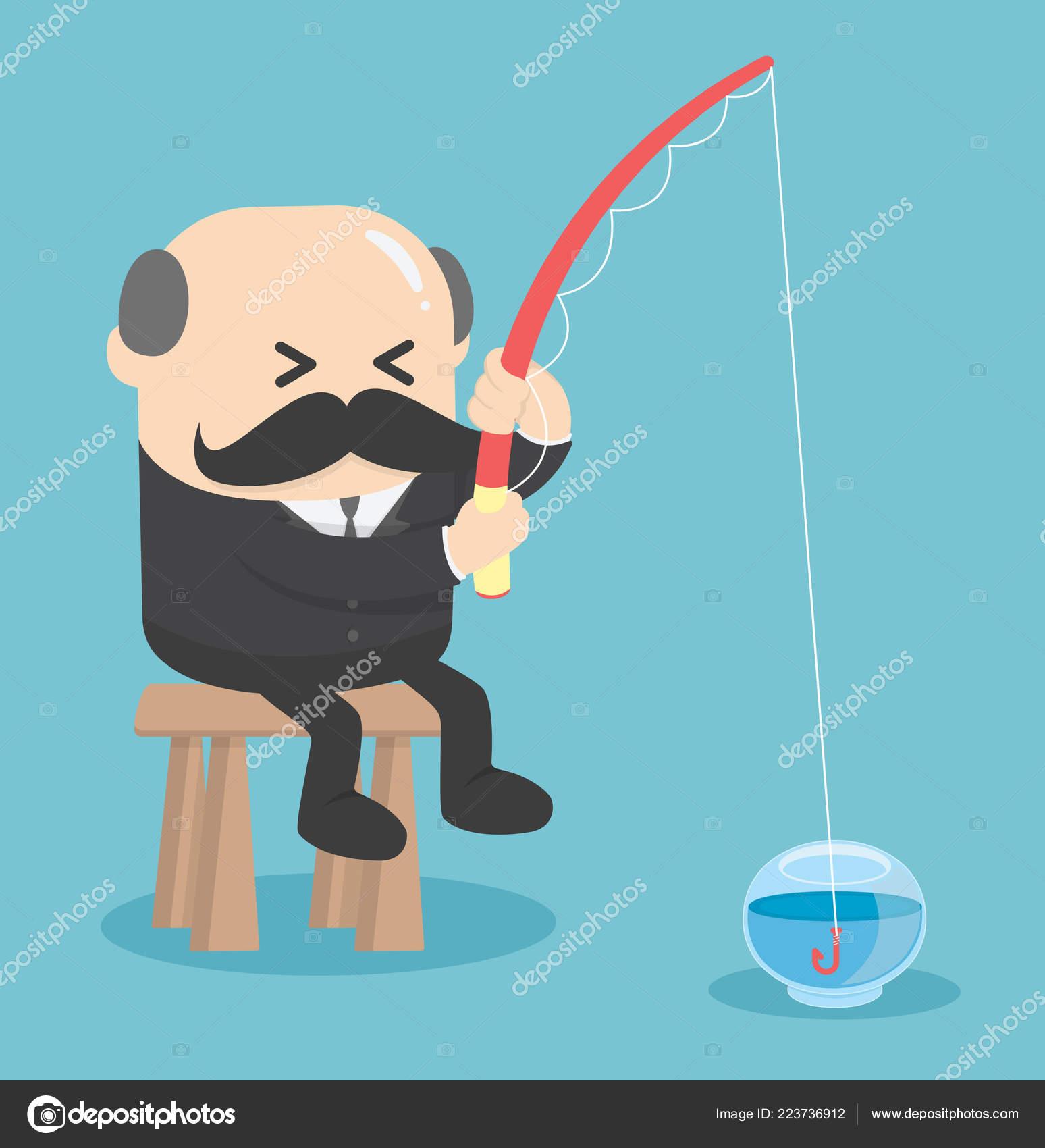 Business Konzept Cartoon Angeln Leeren Fish Tank Worthless Nutzlos