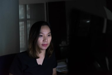 Asian office woman stress from work overload, work at the specified time