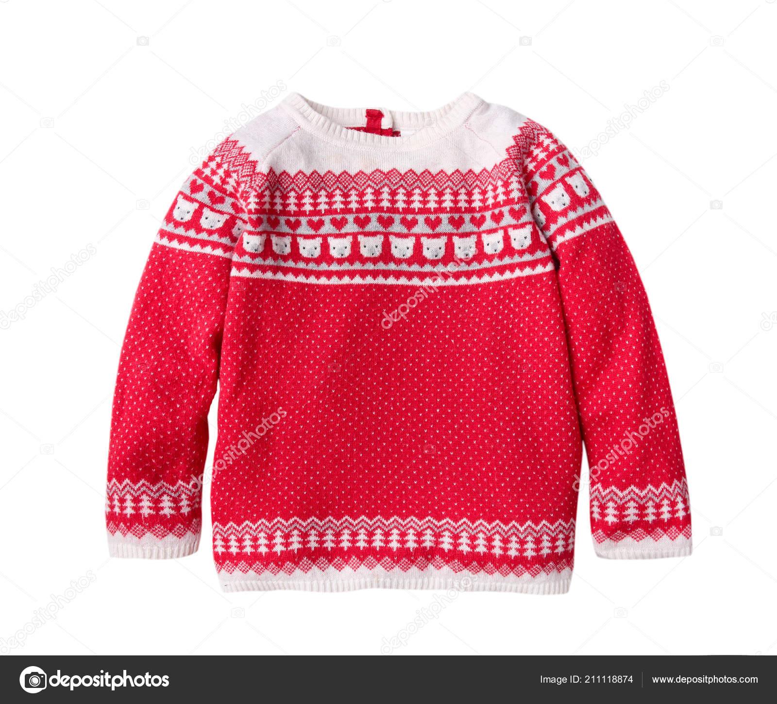 b8ae619014e6 Του παιδιού Χριστούγεννα κόκκινο διακοσμημένους πουλόβερ απομονωμένες