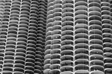 Chicago - Circa May 2018: The iconic Marina City towers in downtown. The towers have appeared on album covers, movies and television shows II