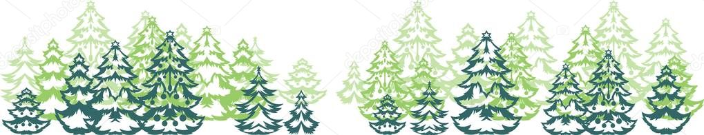 Background with stylized Christmas trees