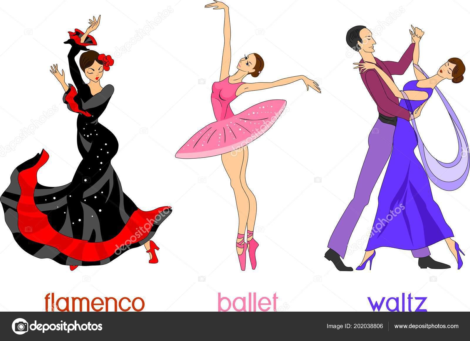 Tres Diferentes Estilos Danza Estilo Dibujos Animados Sobre
