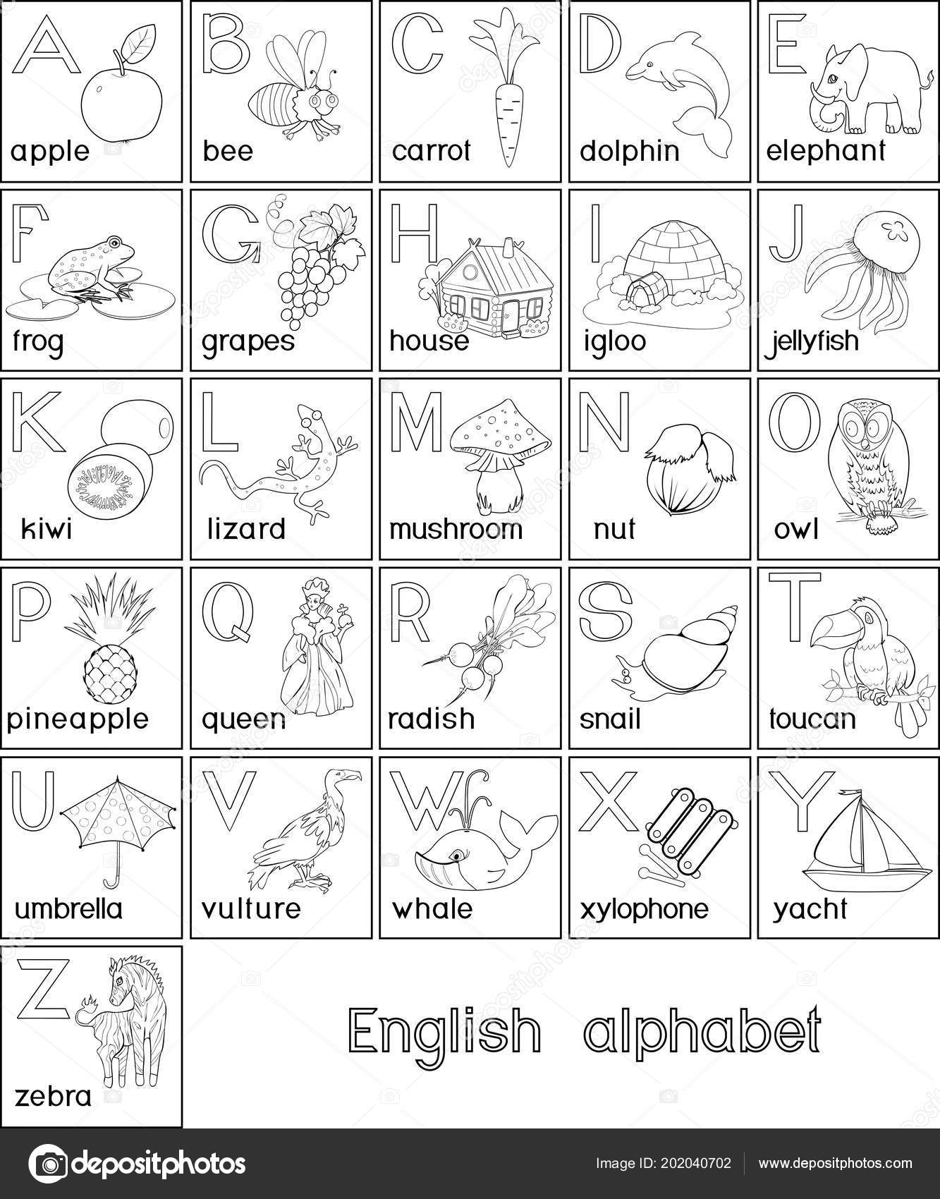 Boyama Sayfası Ingilizce Alfabesi Ile Karikatür Resim çocuk Eğitim