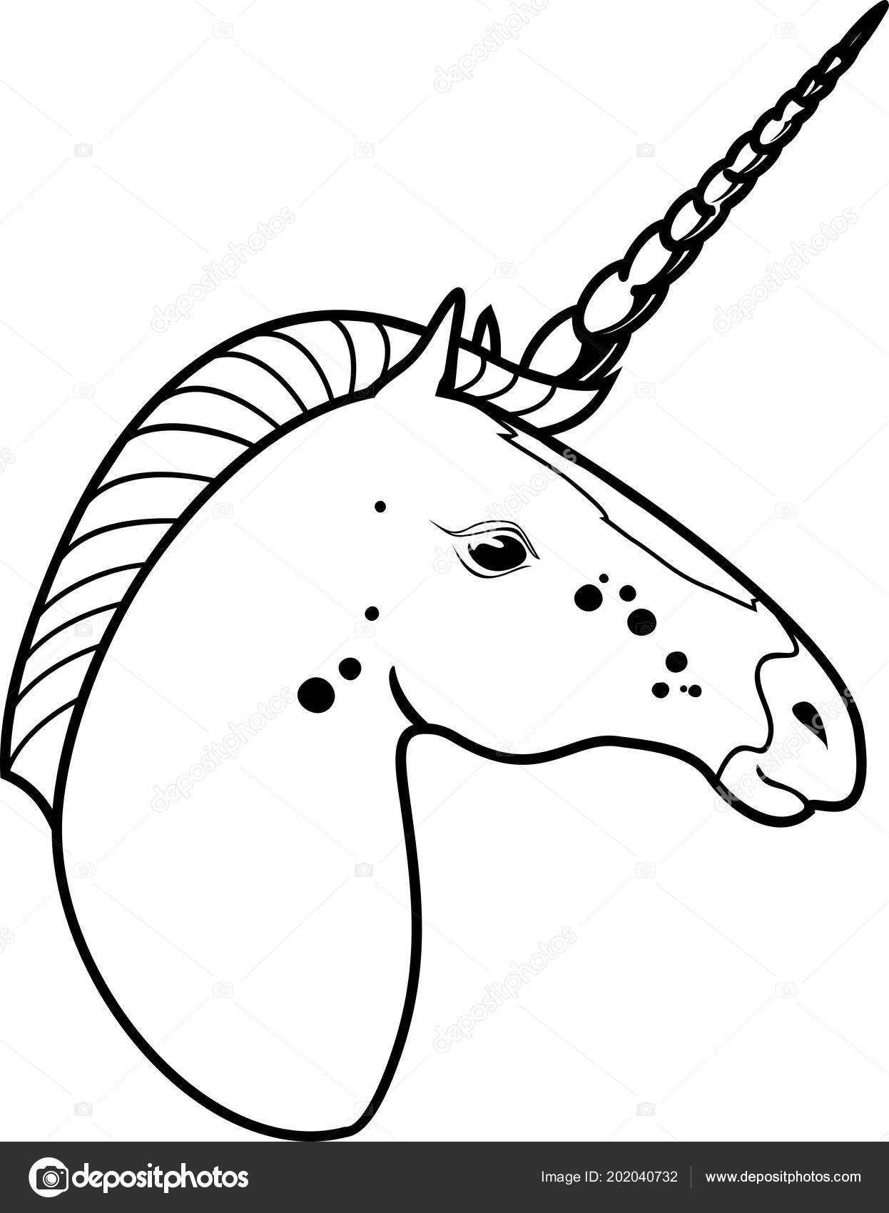 Unicorn head coloring page stock vector