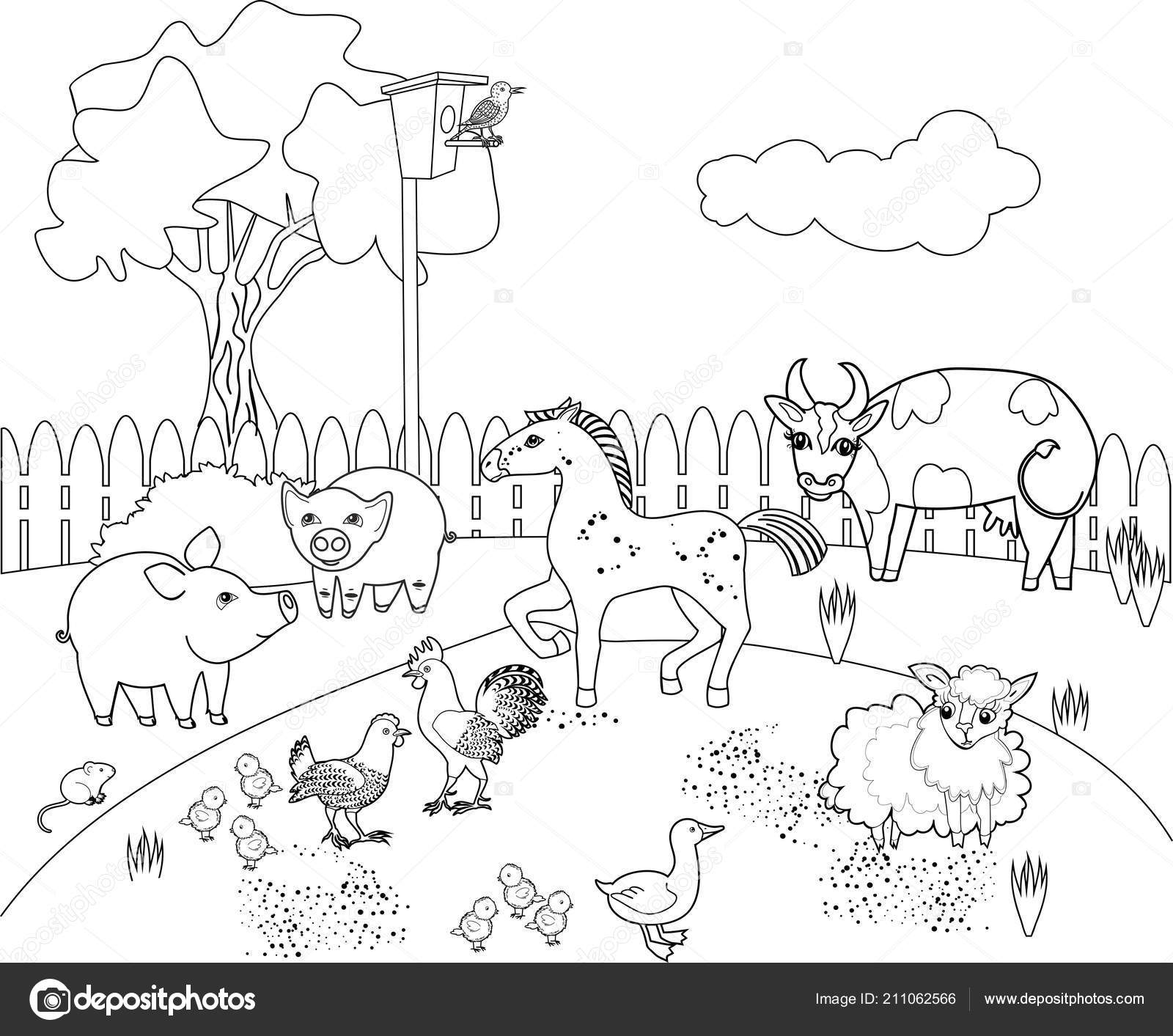 Coloring Page Rural Landscape Different Farm Animals Stock