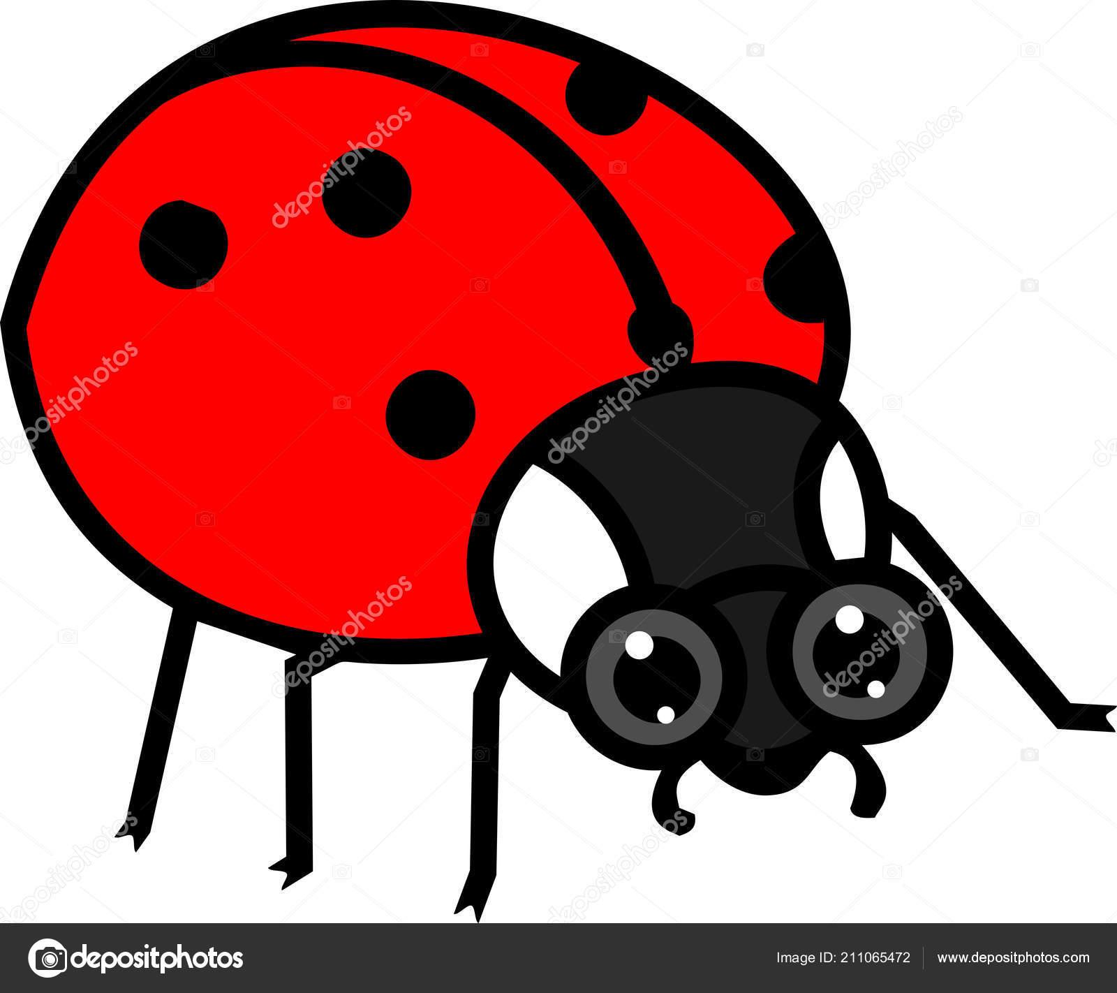 Stylizovane Kreslene Cervena Beruska Bilem Pozadi Stock Vektor