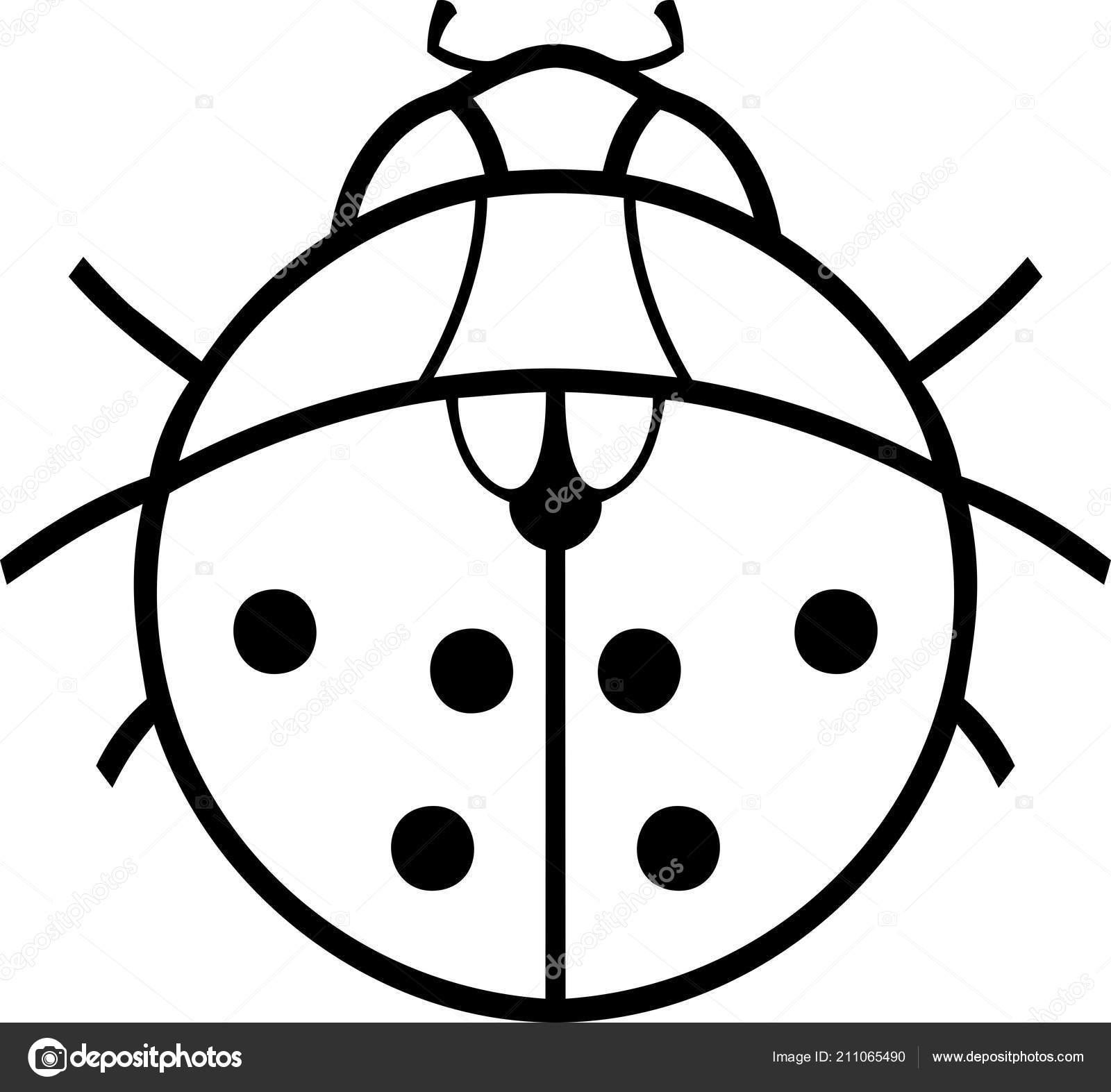 Boyama Sayfası Stilize çizgi Film Uğur Böceği Stok Vektör