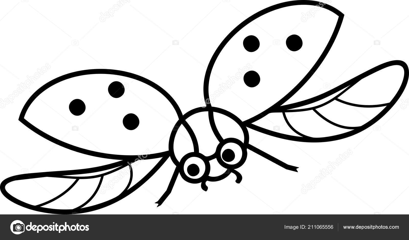 Boyama Sayfası Uçan Karikatür Uğur Böceği Stok Vektör Mariaflaya