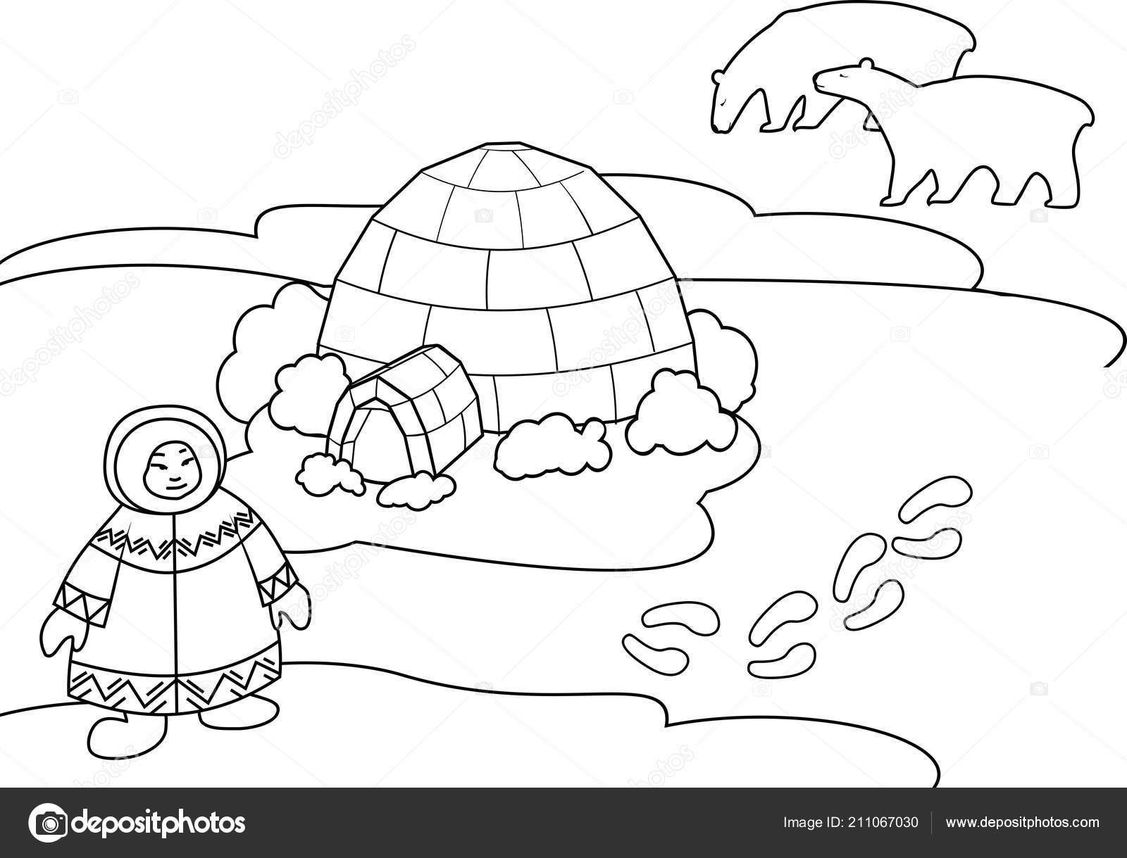 Boyama Sayfası Ulusal Giysiler Eskimo Stilize Kutup Ayısı Eskimo Ile