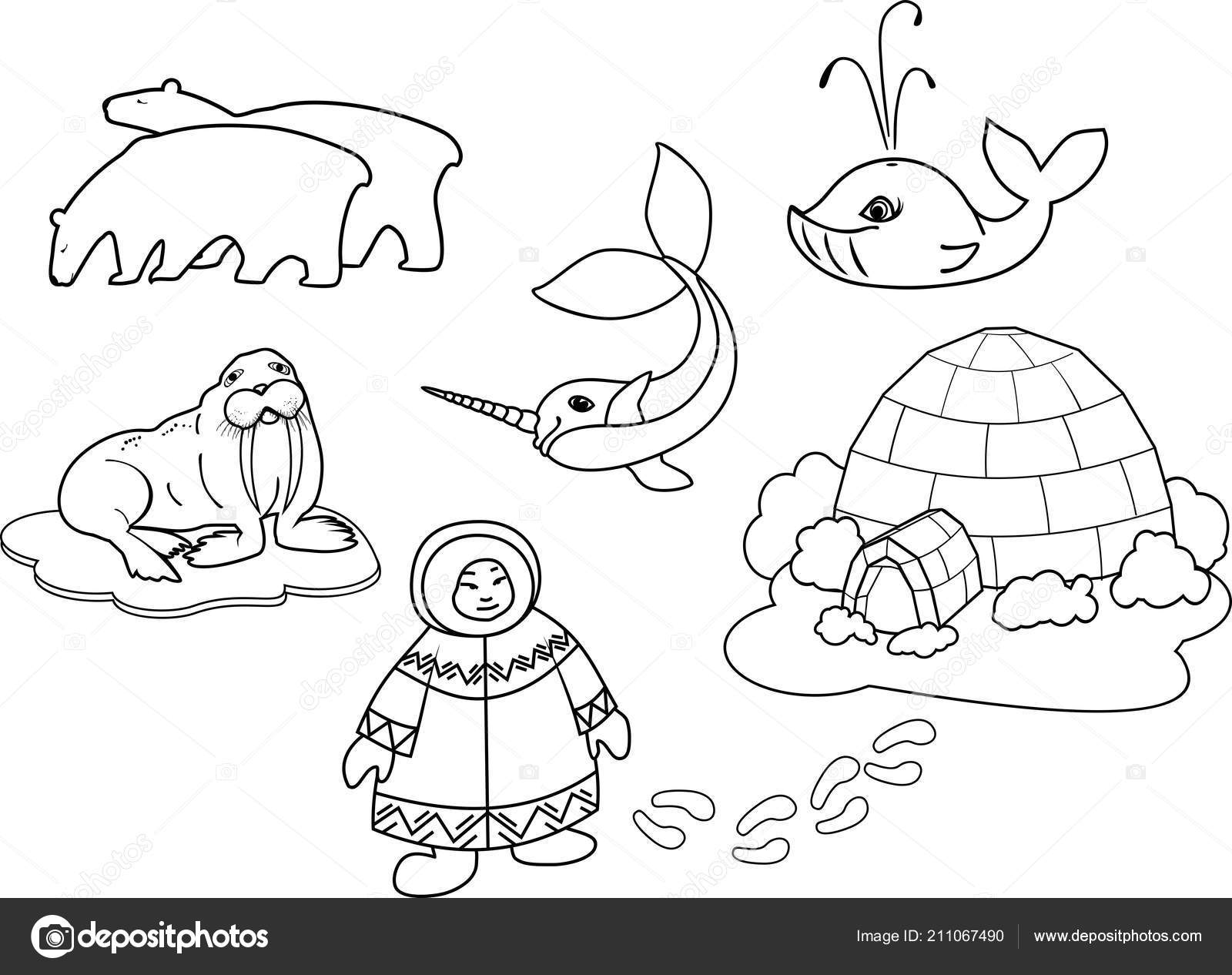 Coloring Page Eskimo National Clothes Igloo Different Cartoon