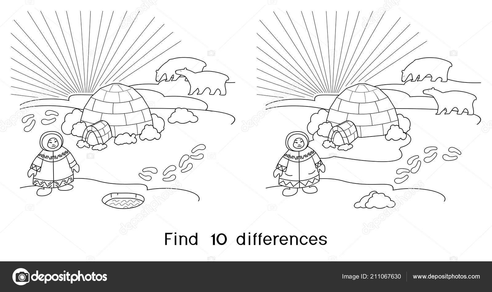 Kleurplaat Zoek Tien Verschillen Spel Voor Kinderen Met Noordelijke