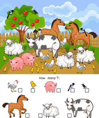 How many animals. Counting educational game with different farm animals for preschool kids