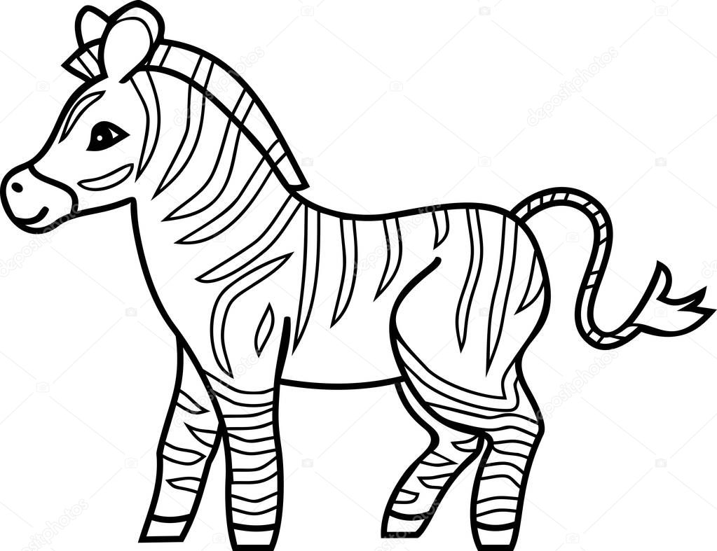 şeritli çizgi Film Zebra Ile Boyama Sayfası Stok Vektör