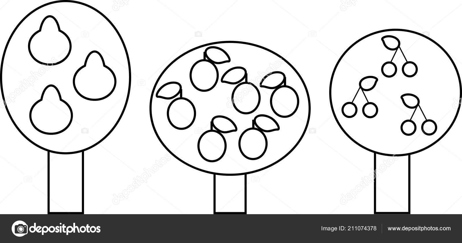 Página Para Colorear Conjunto árboles Frutales Diferentes