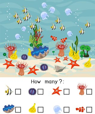 How many different underwater marine animals. Counting educational game with different sea animals for preschool kids