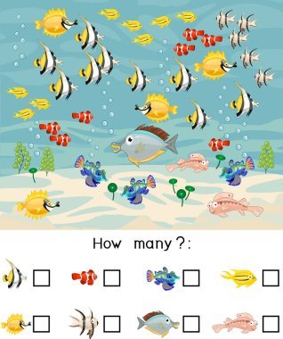 How many different sea fishes. Counting educational game with different sea animals for preschool kids