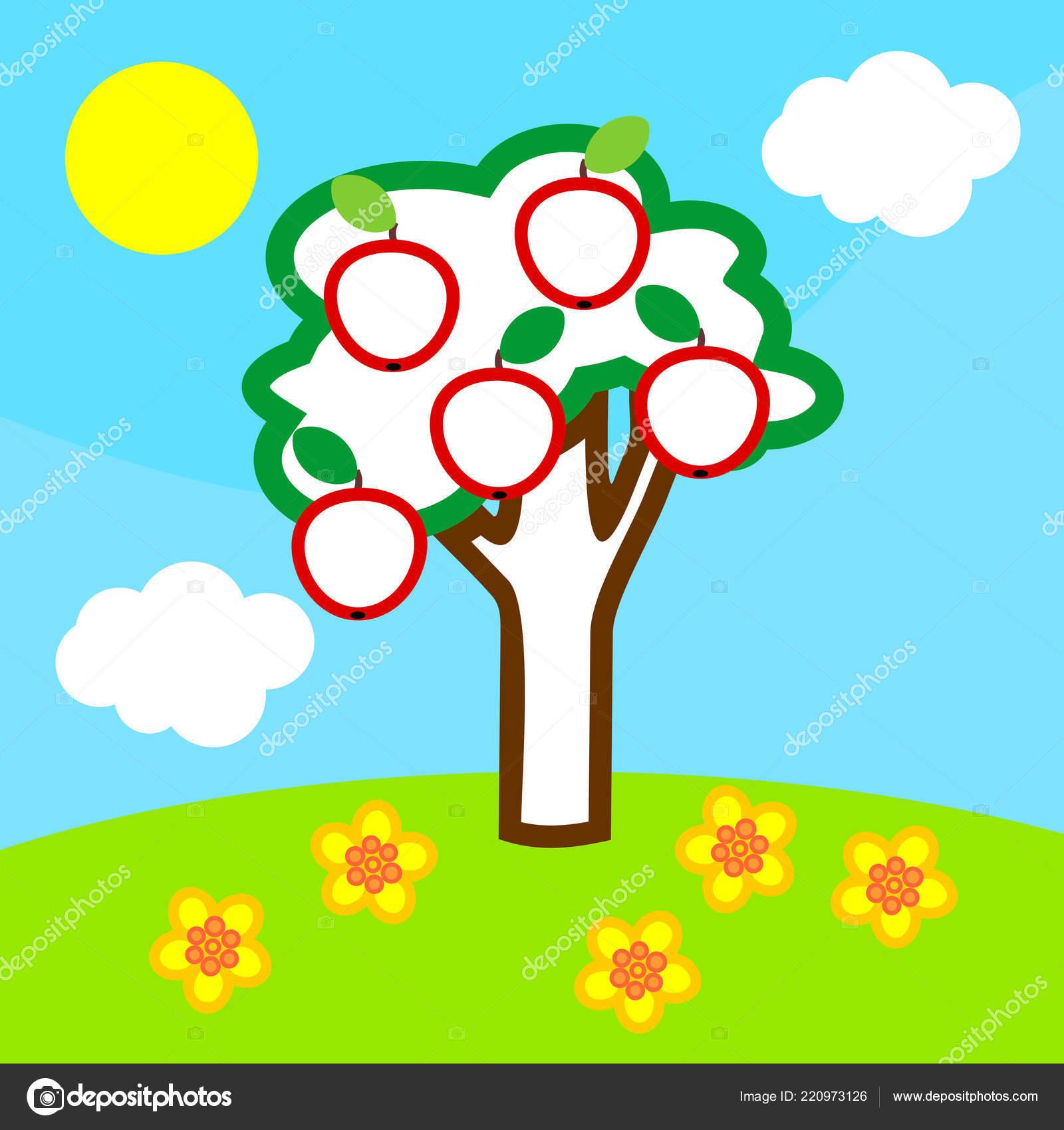 Boyama Sayfası Elma Ağacı Meyve Mavi Gökyüzü Beyaz Bulutlar Sarı