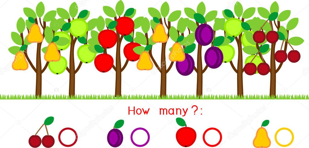 How many different fruits on trees. Counting educational game with different fruits for preschool kids
