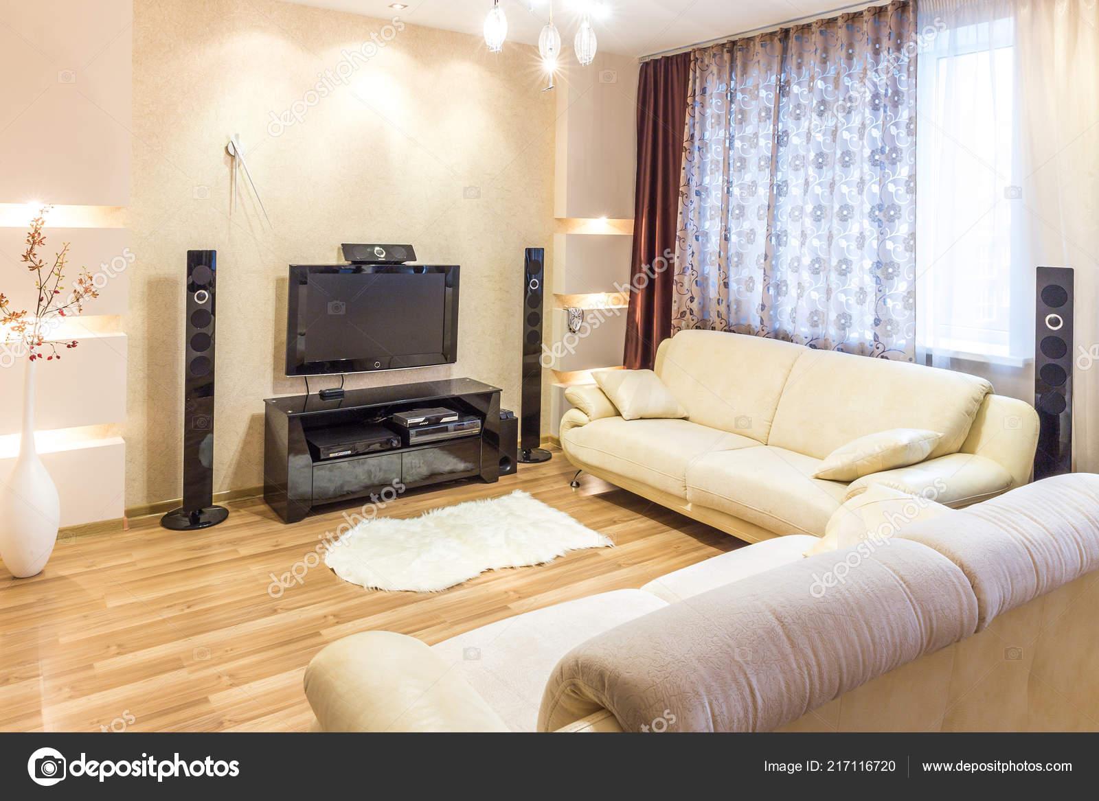 Moderne Wohnzimmer Interieur Mit Couch Und — Stockfoto ...