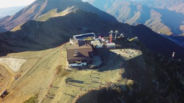 Aerial landscape view of Caucasus Mountains in summer in Sochi ski resort in Russia