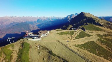 Aerial landscape view of Caucasus Mountains in summer in Sochi ski resort in Russia