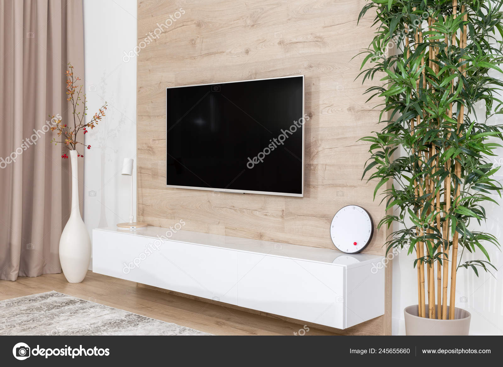Living Room With Couch And Led Tv On Wooden Wall Stock Photo Image By Mariakray 245655660