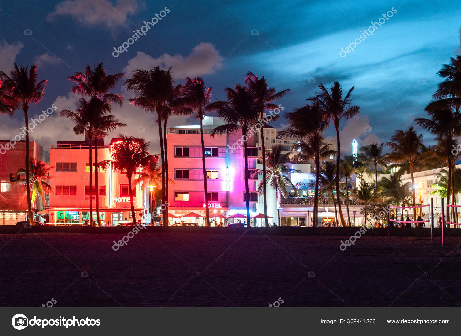 Miami Beach Ocean Drive Hotels And Restaurants At Sunset