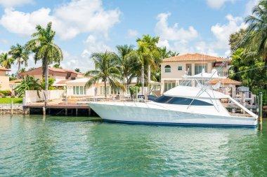 Miami, USA - September 11, 2019: Luxurious mansion in Miami Beach, florida, USA