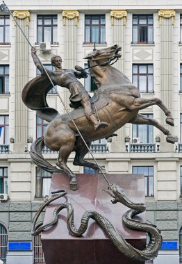 Equestrian monument to Saint George killing the Dragon in Lviv, Ukraine